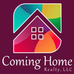 The Coming Home Realty logo has a maroon background with white letters and a house shape with four windows surrounded by multi-colors in a vibrant rainbow range
